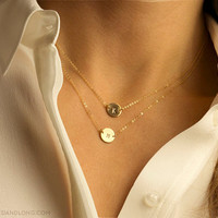 Suspended Circle Necklace Disk / Delicate Personalized Jewelry / Subtle Monogram Necklace Disc / 14k Gold Filled Initial Necklace LN209.L