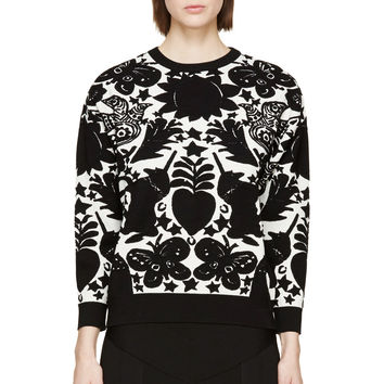 Alexander Mcqueen Vanilla And Black Jacquard Naive Pattern Sweater