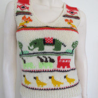 Cutest Ever Novelty 70's Hand Knitted Wool Vest / Boho / Small / Retro / Animals / Bright