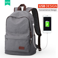 2017 Men Male Canvas Backpack w/USB
