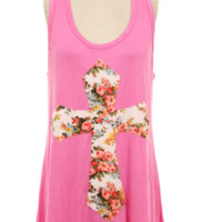 Cross my Heart Floral Tank Top - Mint or Pink - Plus Size