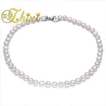 [ZHIXI] Pearl Jewelry Fine Freshwater Pearl Necklace Natural Baroque Pearl Necklace 9-10mm White Stone Choker For Women X1009