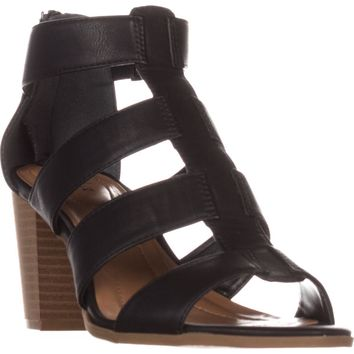 SC35 Janinaa Gladiator Rear Zip Sandals, Black, 7 US