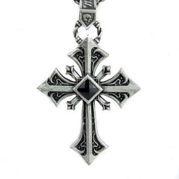Antique Silver Color Gothic Cross Necklace with Black Stone
