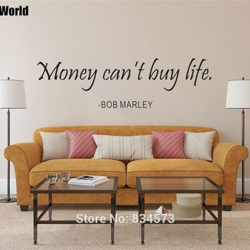 MONEY CAN'T BUY LIFE BOB MARLEY Insprational Quote Wall Art Sticker Wall Decal Home DIY Decoration Removable Decor Wall Stickers