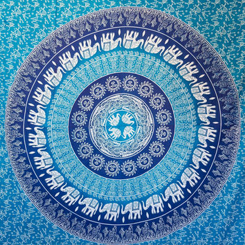 Handicrunch White Zodiac Horoscope Tapestry, Indian Astrology Hippie Wall Hanging, Divine Ethnic Decorative Gift Art, Sun Moon Celtic Zodiac Tapestry