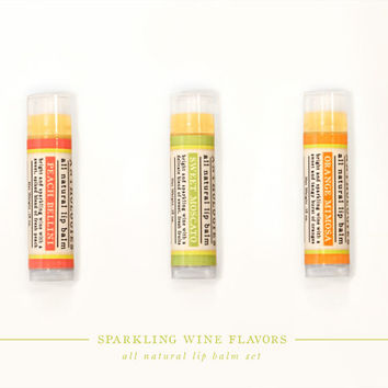 SALE - Sparkling Wine Lip Balm Set - All Natural - 3 Flavors - Sweet Wine and Champagne Drink Balms - Live Beautifully Lip Balm Anthologies