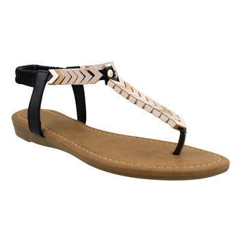 Boho Babe Gold Chevron Thong Sandals