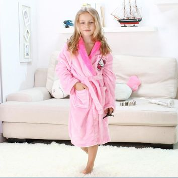 Children Clothing Kids Clothes Long Sleeve Spring Winter Flannel Mickey Hello Kitty Children's Pajamas Bathrobes