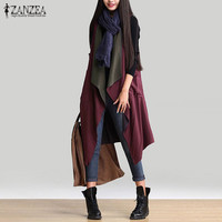 Reversible Wear Outerwear 2016 Autumn Women Casual Waterfall Irregular Sleeveless Long Trench Coat Solid Loose Outwear Cardigan