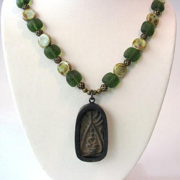 """Buddha Necklace / Vintage Good Luck Amulet Thailand / Czech Glass Green Brown Earth Tone Beads / Oriental Asian Ethnic Jewelry 19"""""""