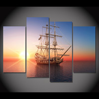 Pirate Ship Sunset On Calm Sea 5-Piece Wall Art Canvas