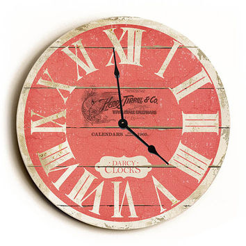 Red French Style Unique Wall Clock by Dickery Dock