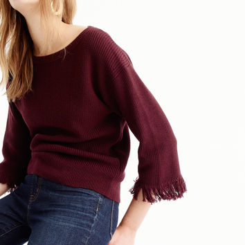 Crewneck sweater with fringe
