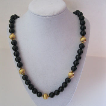Napier Large Bead Necklace Black and Gold Vintage 24""