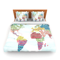 "Agnes Schugardt ""Geo Map"" Abstract Fleece Duvet Cover"