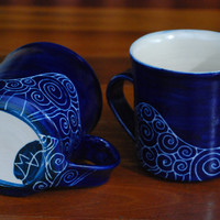 MUG Handmade and hand decorated stoneware mug for coffee or tea in royal blue detailed swirl style patterns incised