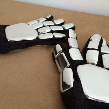 Daft Punk Gloves Chrome Finished Guy Manuel or Thomas Bangalter perfect for full Costume.