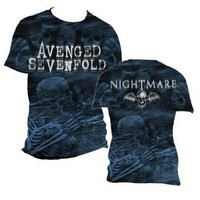 Avenged Sevenfold - Mens Skeleton Mist T-Shirt In Black, Size: Large, Color: Black