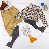 Kids Children Baby Boy's Wear 3pcs Set Cartoon Tops And Checked Shirt And Solid Pants