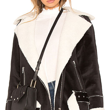 BLANKNYC Down & Out Jacket in Black & Off White