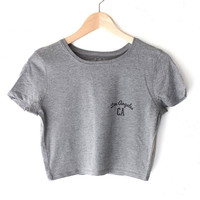 Los Angeles CA Crop Top - Dark Heather Grey