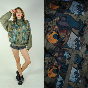 Vintage 90s FRESH PRINCE Abstract Print SILK Bomber jacket ( L )