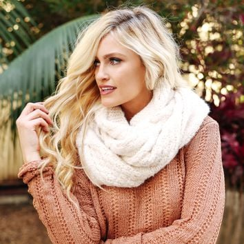 Cream Plush Infinity Scarf