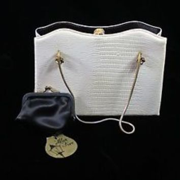 Vintage Mid Century Ivory Faux Leather After Five Evening Cocktail Bag Mad Style