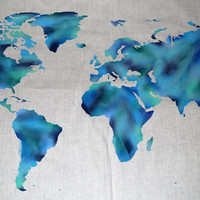 World Map Wall Tapestry Shades of Blues, Brush Stroke, Water Color Effect