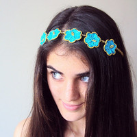Turquoise Daisy Headband Traditional Turkish Lacework by diligent