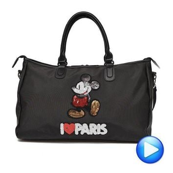 ICIK7N3 Hot Sale Designer Metal Sequins Mickey Gym Fitness Sports Bag Shoulder Crossbody Bag Women Tote Handbag Travel Duffle Bolsa