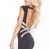 Quontum Backless Criss Cross Silver Sequin Strap Dress