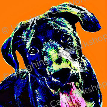 Dog art print poster pop art pet portraits black lab pit bull wall art decor, dog lovers gift teen girl wall art teen boy wall decor custom
