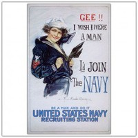 """Trademark Global US Navy Woman by Howard Christy, Traditional Canvas Art - 32"""" x 24"""" - V8063-C2432GG - All Wall Art - Wall Art & Coverings - Decor"""