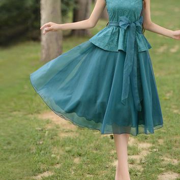 floral dress chiffon dress cotton dress wedding dress party dress women dress Lolita dress short sleeve dress---WD178