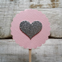 Heart Cupcake Topper, Cake Decor, Cupcake Decor, Wedding Decor, Baby Shower Decor, Party Decor, Set of 20