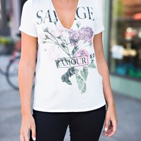 """Savage"" Floral Graphic Top (Ivory)"