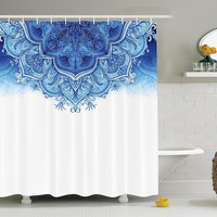 Blue Fade Mandala Edge Boho Fabric Shower Curtain