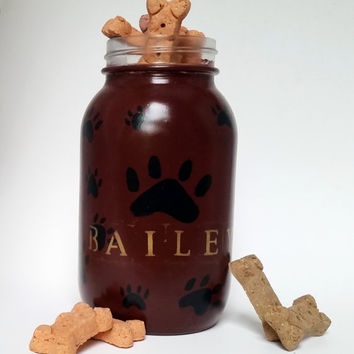 Dog Treat Jar- Doggy Treat Jar- Painted Mason Jar- Treat Jar- Personalized Dog Treat Jar