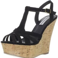 Steve Madden Women's Wildness T-Strap Wedge,Black Nubuck,7.5 M US