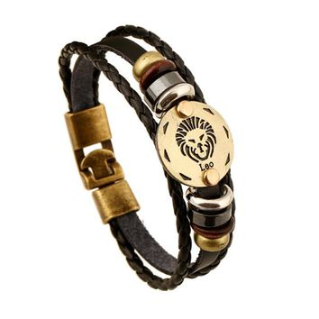 Bronze Alloy Buckles Zodiac Signs Bracelet Punk Leather Bracelet Wooden Bead & Black Hematite Lover Charm Jewelry