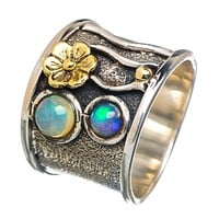 Ethiopian Opal Sterling Floral Band Ring