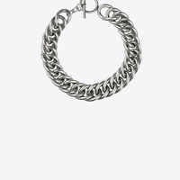 Saint Laurent PUNK Gourmette Choker In Old Silver Toned Brass | ysl.com