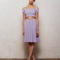Mix n Match Coco Crop Top and Skater Skirt Set in Pastel Lilac Purple
