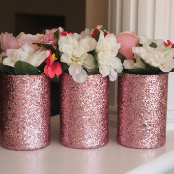 pink centerpiece pink glitter vases rose gold centerpiece pin