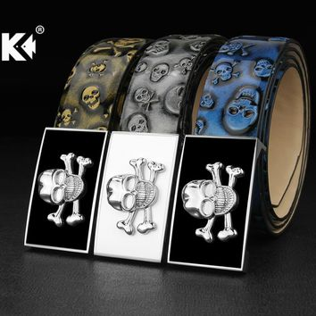 High Quality genuine leather designer belts men Skull buckle blue black cintos masculinos ceinture homme Casual luxury brand
