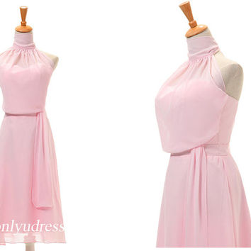 High neck pretty bridesmaid dress, new arrival bridesmaid dress, lovely homecoming dress, chiffon homecoming dress on sale  5095