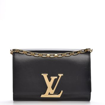 LOUIS VUITTON Calfskin Chain Louise GM Noir Black