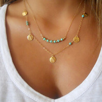 2 layer Coin Charm Chain necklace with Turquoise and Gold bead Bar